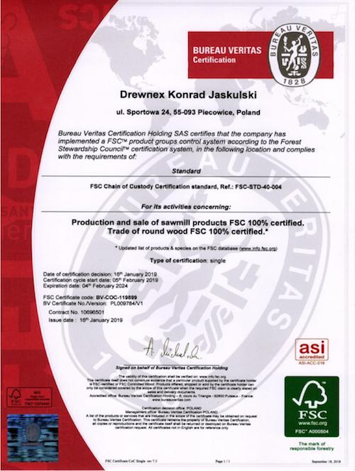 Certyfikat FSC Drewnex