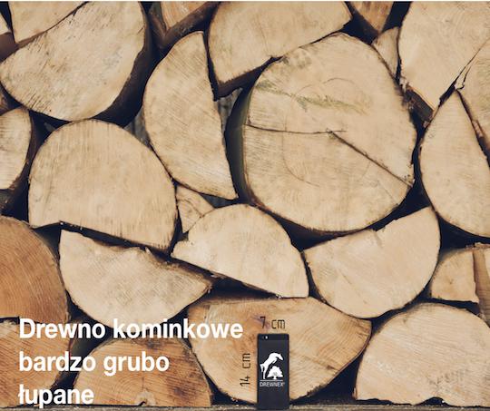 Drewno kominkowe bardzo grubo łupane